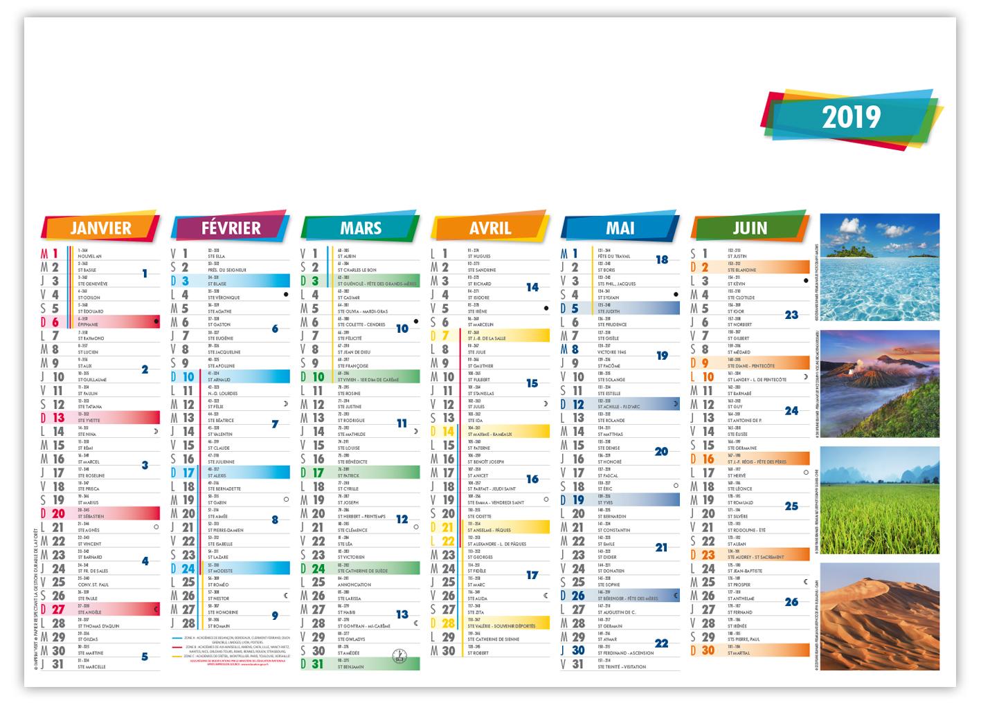 calendrier bancaire 2019