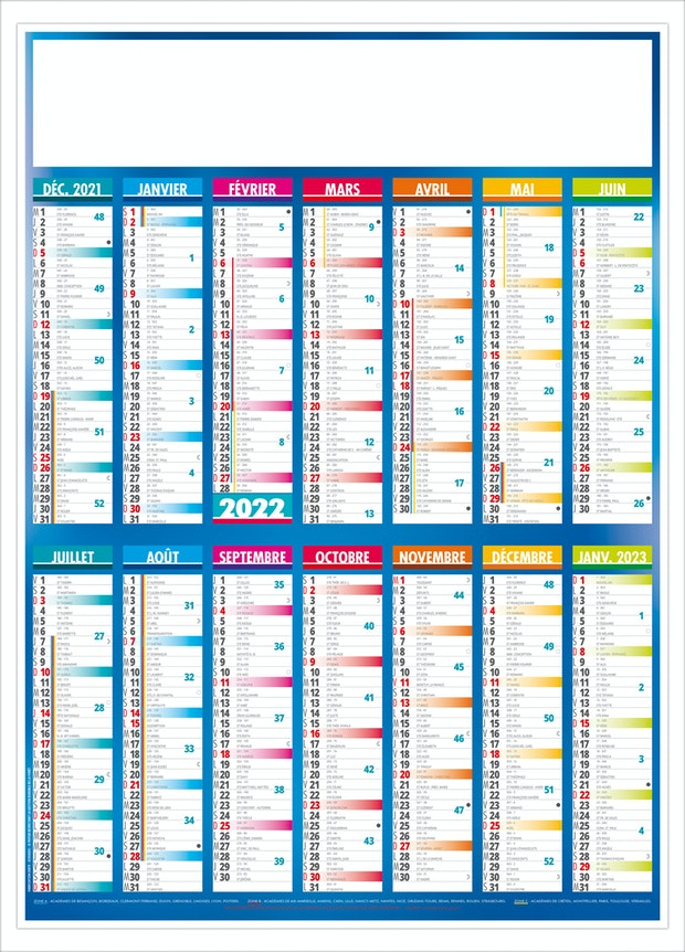 Calendrier 2022 En Couleur Calendrier 2022 | BANCAIRE MARIANNE COULEURS