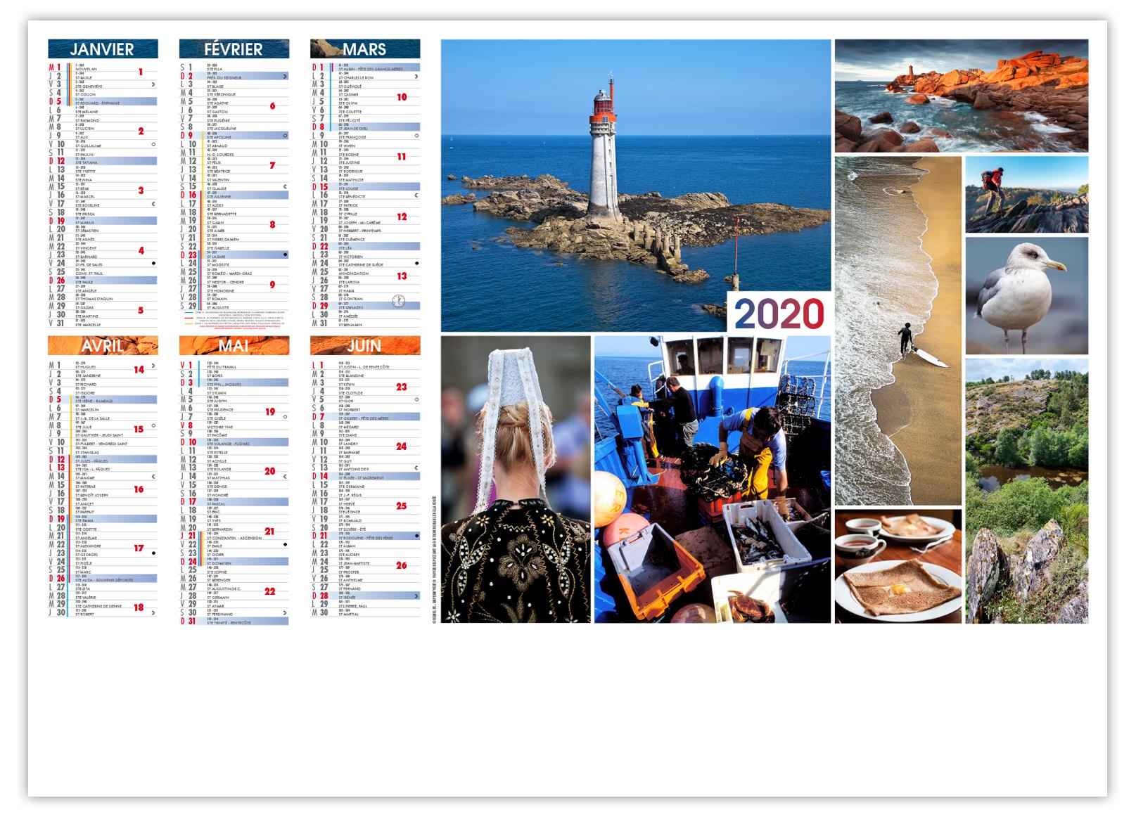 Calendrier publicitaire personnalisé sur la Bretagne