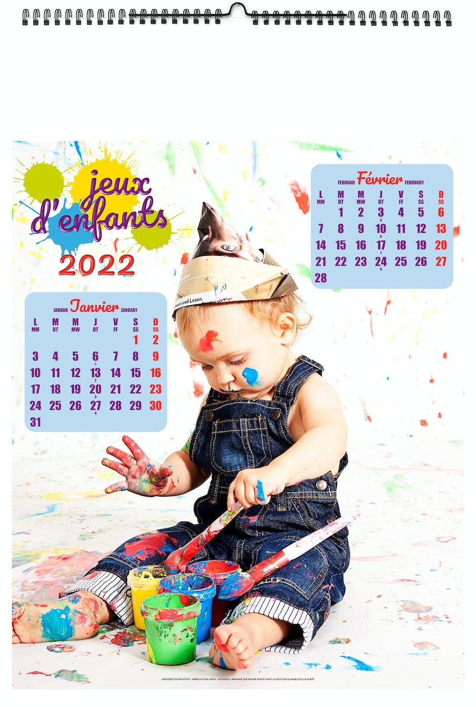 Calendrier 2022 Enfant ILLUSTRÉ JEUX D'ENFANTS 2022