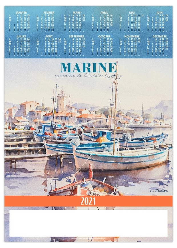 Poster publicitaire avec calendrier 12 mois peinture port