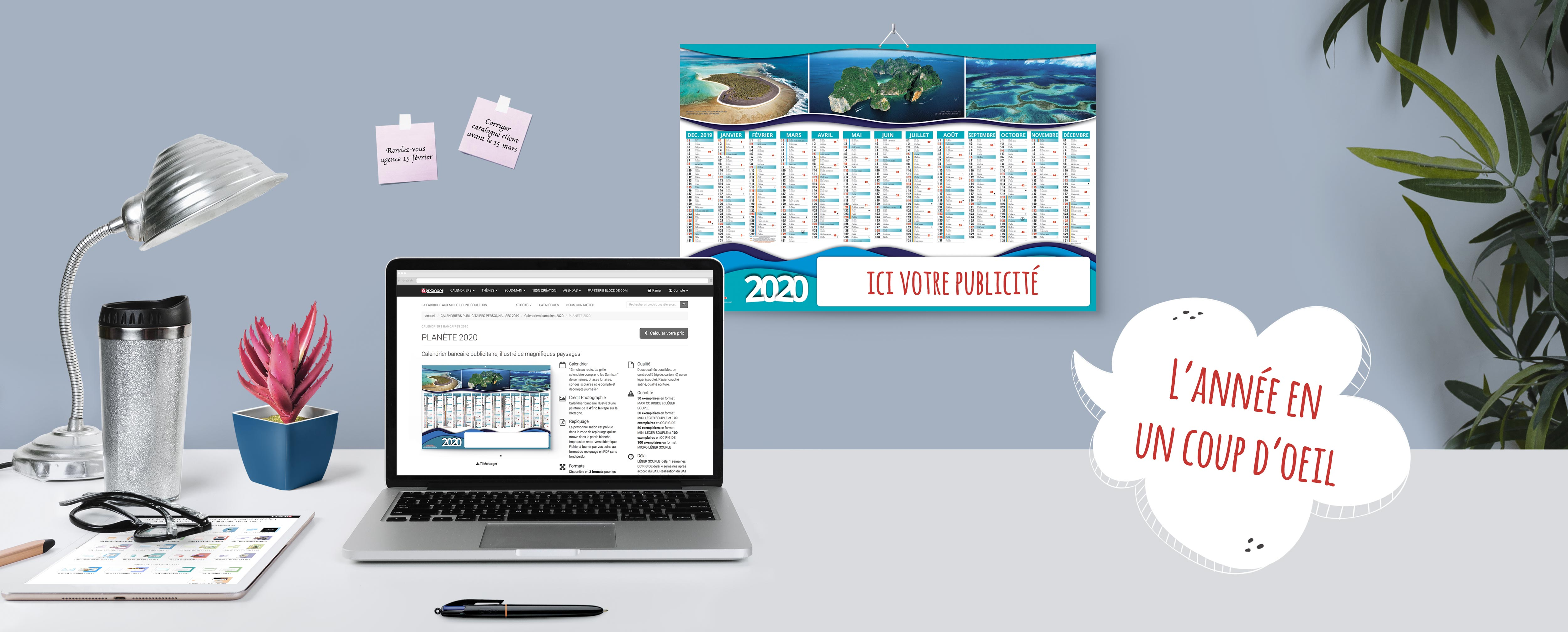 Calendriers bancaires publicitaires 2020