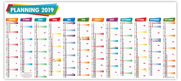 Grille Calendrier 2019.Planning Geant 2019